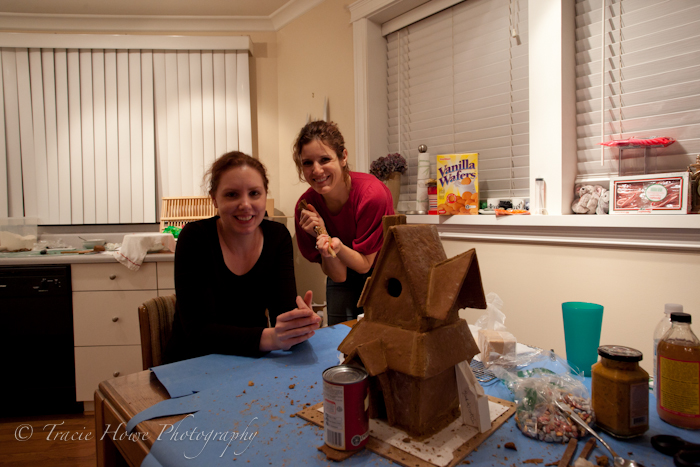 Mary and Olivia, my gingerbread house construction helpers
