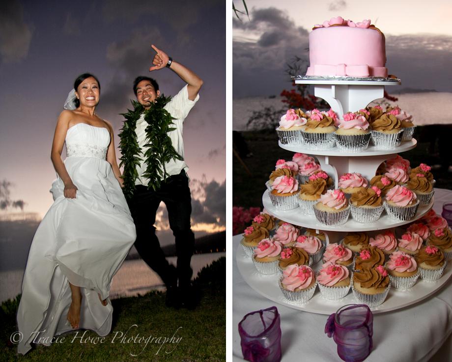 Hawaii wedding jumping on beach