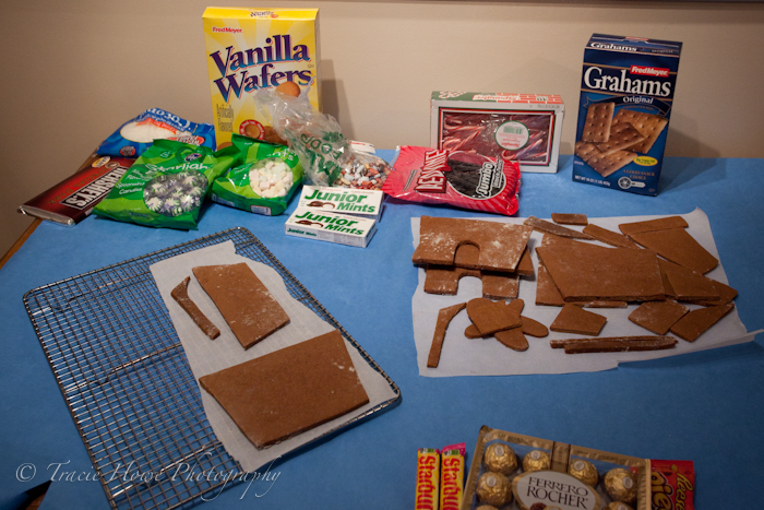 Beginning stages of making gingerbread house