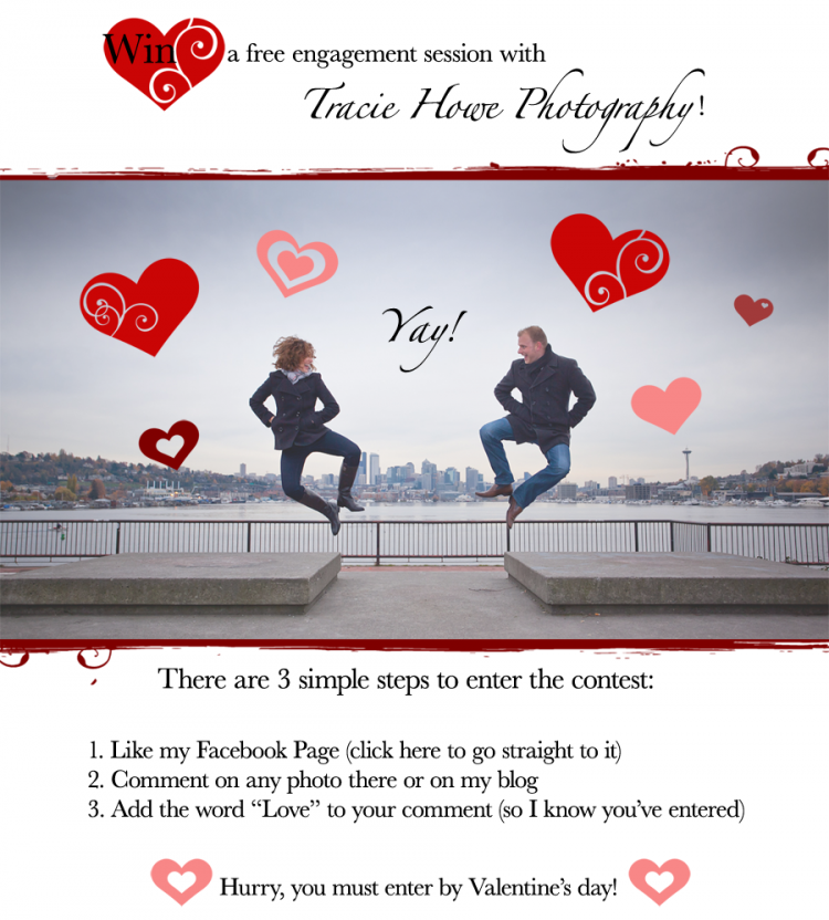 win free engagement photo session, enter by Valentine