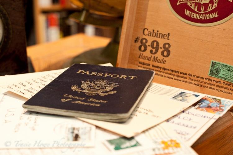 Travel theme photo shoot with passport