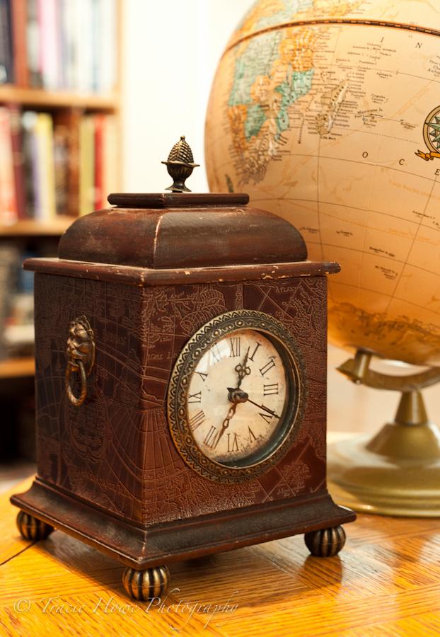 Travel theme photo shoot with clock