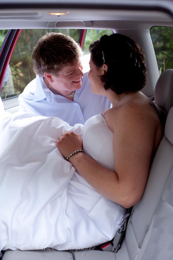 Sweet, intimate moment between couple, post wedding