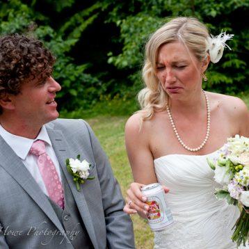 Bride tasting gross beer