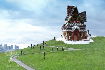 Giant gingerbread house at Gasworks park. Forced perspective.