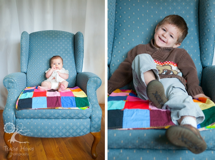 photo of baby and boy in chair