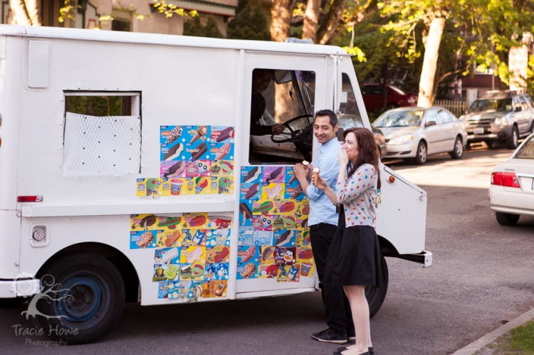 Fun Capitol Hill Seattle engagement session with ice cream