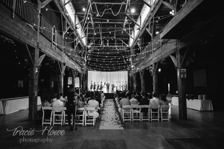 Now also a wedding venue, Emerald City Trapeze got all spruced up to host this wedding last year.