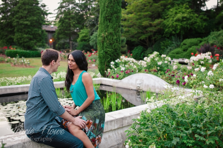Great timing for this pretty summer engagement shoot in the rose garden at Woodland Park.