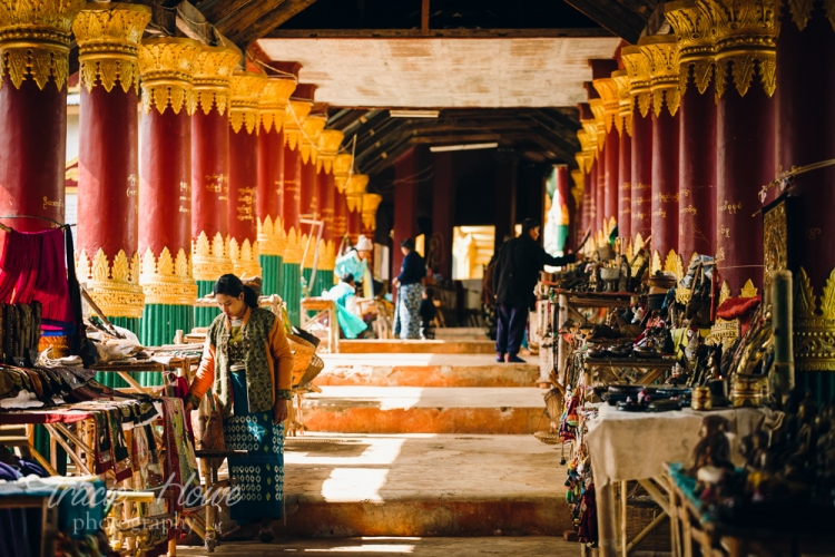 A long passageway filled with countless vendors at this market next to Inle Lake.
