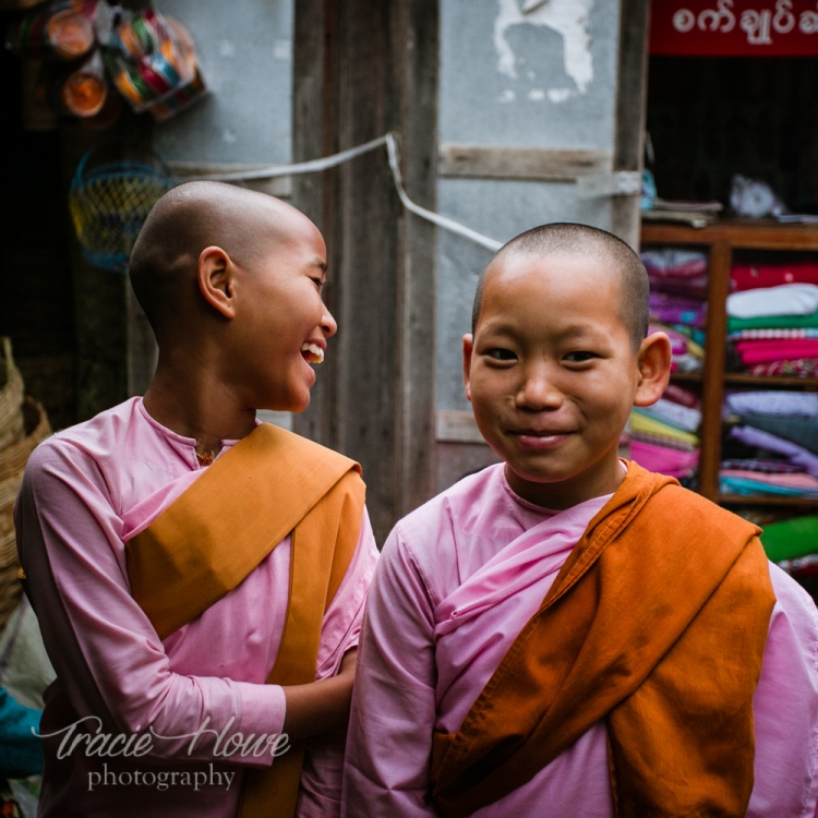 Two young female monks humored me with a quick photo. I love their reactions to the request.