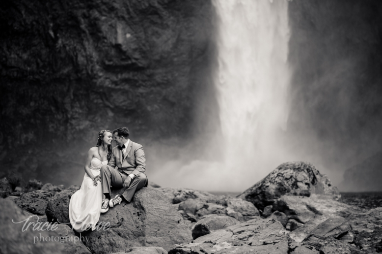 My most adventurous couple of the year asked me to climb down to the falls for these elopement photos. I needed no convincing!