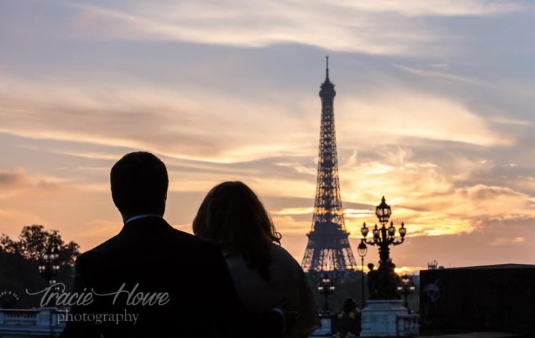 Paris wedding sunset